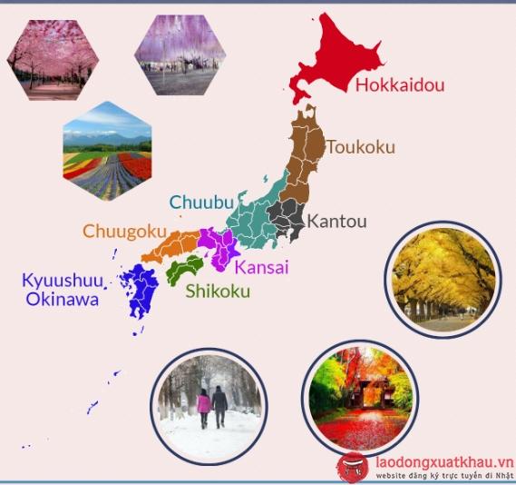 Bản đồ các vùng của Nhật Bản