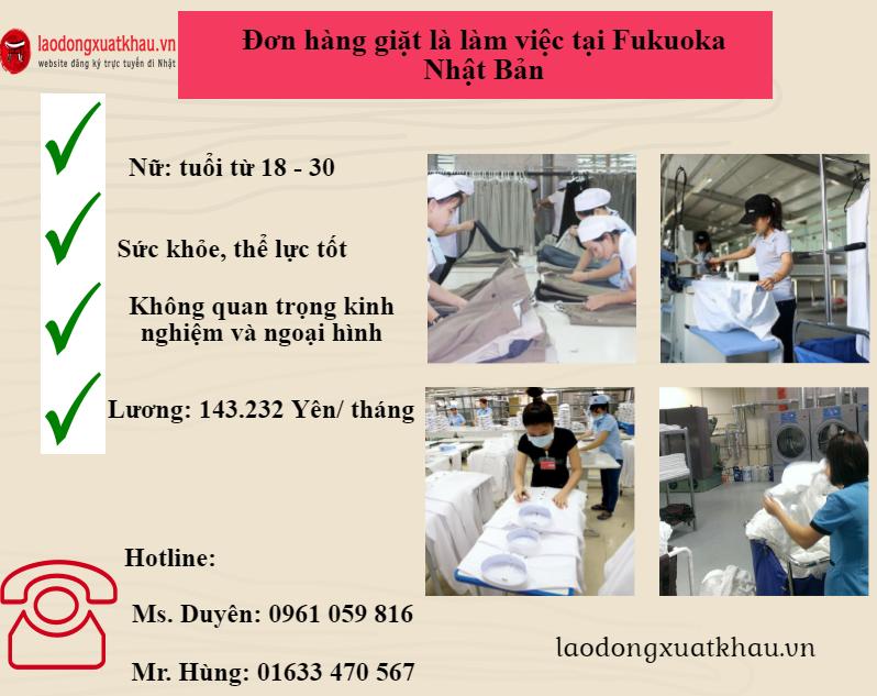 Tuyển 10 Nữ lầm giặt là tại Fukuoka Nhật Bản