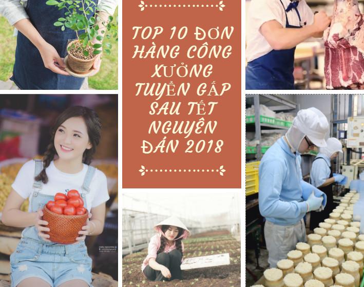 TOP 10 Đơn hàng công xưởng tuyển gấp sau tết nguyên đán 2018