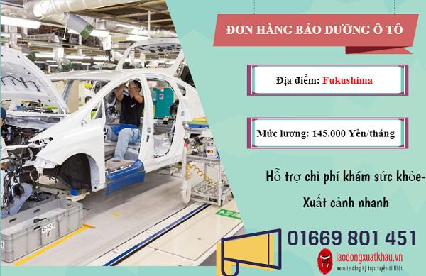 Đơn hàng bảo dưỡng ô tô cần tuyển 5 Nam đi xuất khẩu lao động tại Nhật Bản
