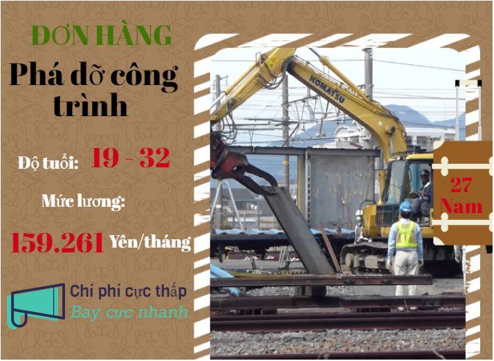 Tuyển 27 nam tham gia đơn hàng phá dỡ công trình tại Kanagawa